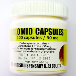 Clomid capsules (Кломид) British Dispensary 100 таблеток (1 таб 50 мг)