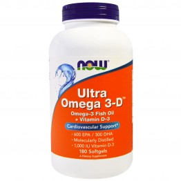 Ultra Omega 3-D Now Foods (180 желатиновых капсул)