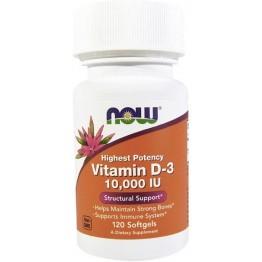 Now Foods витамин D3 10000 ед (120 капсул)